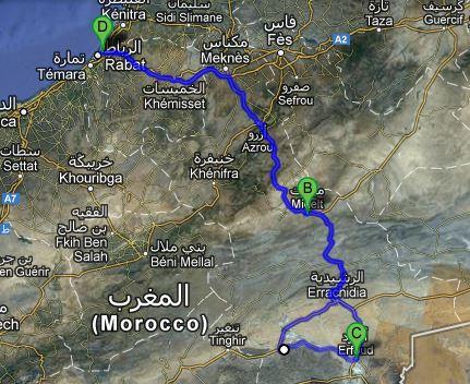 unsere Route auf google maps